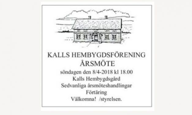 Årsmöte Kalls Hembygdsförening 8 april