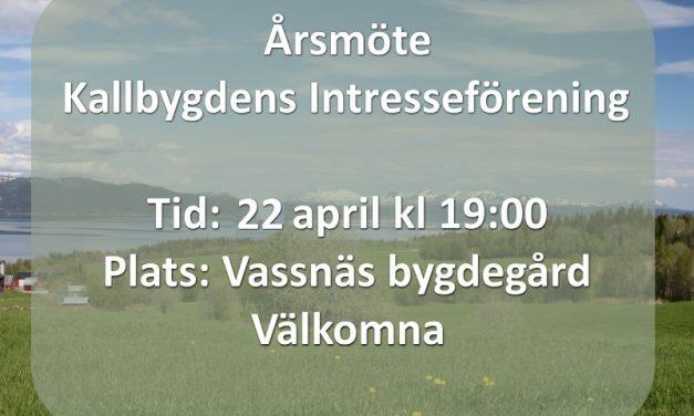 Årsmöte Intresseföreningen 22 april