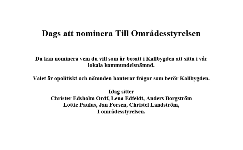 Dags att nominera till Områdesstyrelsen