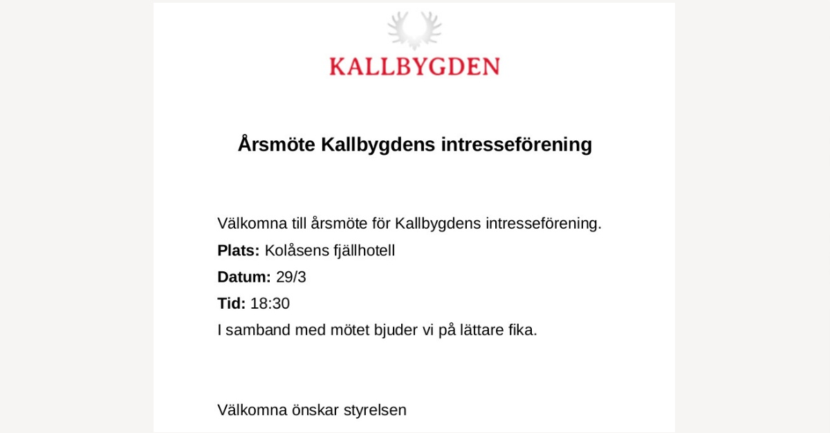 Årsmöte Kallbygdens intresseförening 29 mars