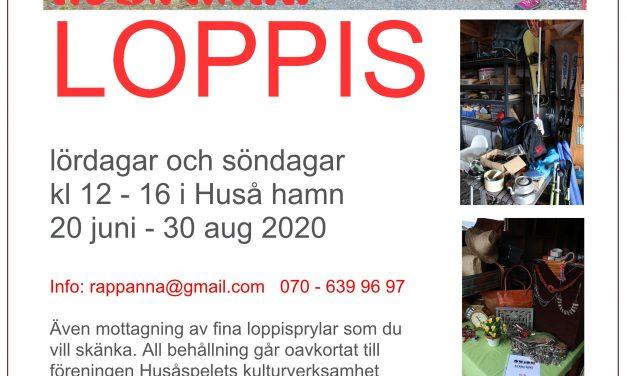 Loppis Huså hamn 20 juni – 30 augusti